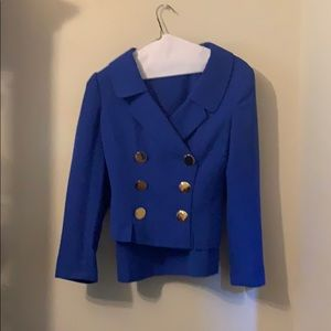 Louis Feraud Size 4 Royal Blue Suit